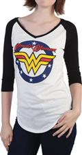 DC Comics Wonder Woman Logo V-Neck Raglan T/S Lg (C: 1-1-2)