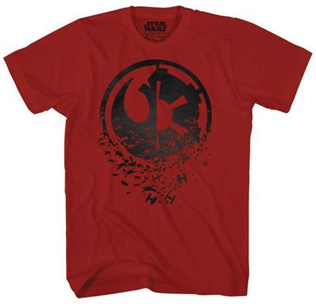 STAR WARS DUEL SIDE BLACK FOIL CARDINAL PX RED T/S LG (C: 1-