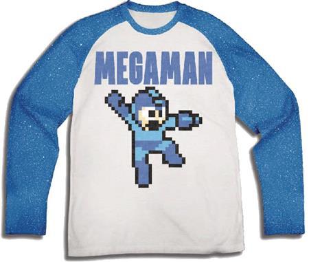 MEGAMAN 8-BIT WHITE BLUE REGLAN T/S LG (C: 1-1-0)