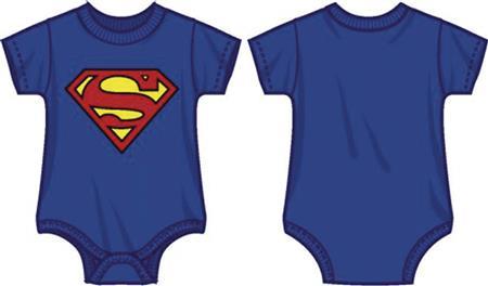 DC SUPERMAN LOGO INFANT BLUE SNAP BODYSUIT 12M (Net) (C: 1-0