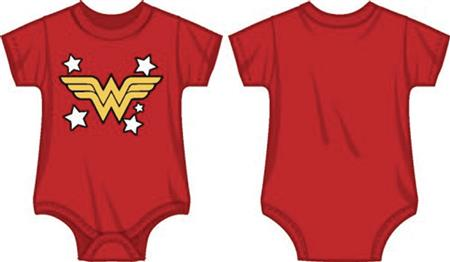 DC WONDER WOMAN LOGO INFANT RED SNAP BODYSUIT 18M (Net) (C: