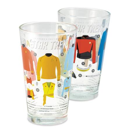 STAR TREK UNIFORMS PINT GLASS 2PC SET (C: 0-1-2)
