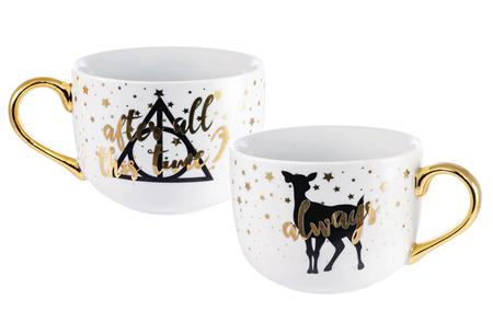 HARRY POTTER ALWAYS GREY & GOLD 2PC CERAMIC LATTE MUG SET
