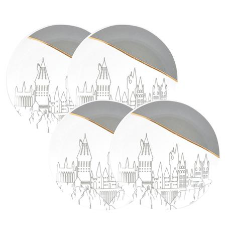 HARRY POTTER HOGWARTS GREY & GOLD 4PC PLATE SET
