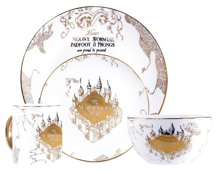 HARRY POTTER GOLD MARAUDERS MAP CERAMIC DINNERWARE 4PC SET