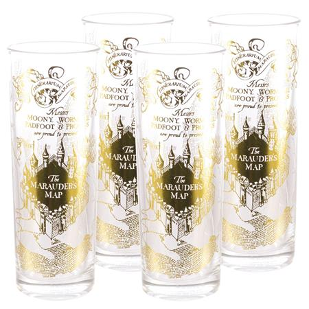 HARRY POTTER GOLD MARAUDERS MAP TALL GLASS 4PK (C: 1-1-2)