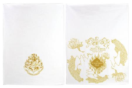 HARRY POTTER GOLD MARAUDERS MAP KITCHEN TOWELS 2PK (C: 1-1-2