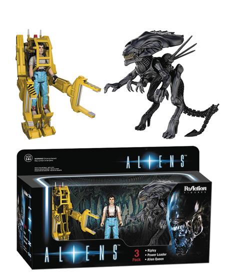 REACTION ALIENS 3PK RIPLEY W/POWER LOADER & ALIEN QUEEN (C: