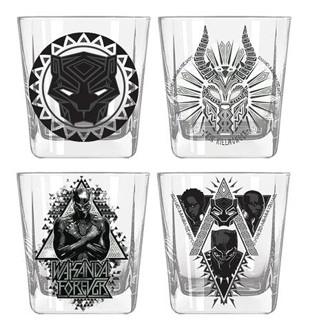 MARVEL HEROES BLACK PANTHER WAKANDA 4PC 9OZ GLASS SET (C: 1-