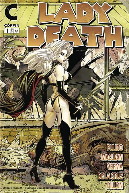 LADY DEATH UNHOLY RUIN #1 DAMAGED HOMAGE EDITION (MR)