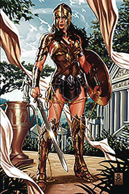 DF JUSTICE LEAGUE #1 SGN BROOKS & SNYDER BROWN ARMOR (C: 0-1