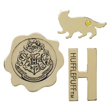 HARRY POTTER HOGWARTS HOUSE HUFFLEPUFF 3PC LAPEL PIN SET (C: