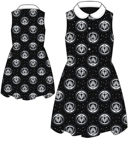 GOTG V2 SYMBOL STARRY PATTERN B&W COLLAR DRESS LG (Net) (C: