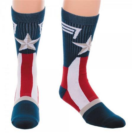 MARVEL CAPTAIN AMERICA SUIT UP CREW SOCKS (Net) (C: 1-0-2)