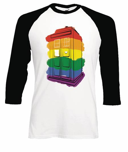 DOCTOR WHO RAINBOW PAINT TARDIS WHT BASEBALL T/S LG (C: 0-1-