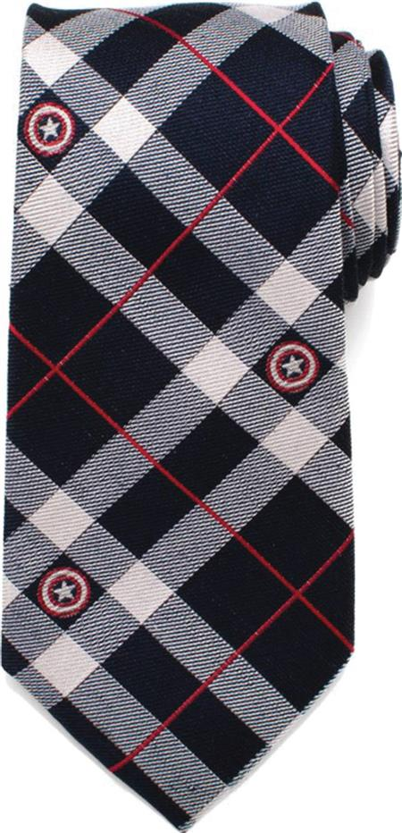 MARVEL CAPTAIN AMERICA BLUE PLAID TIE (Net) (C: 1-0-2)