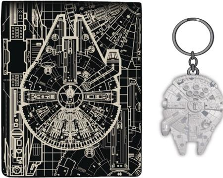 SW MILLENIUM FALCON BLUEPRINT WALLET & KEYCHAIN SET (C: 1-1-