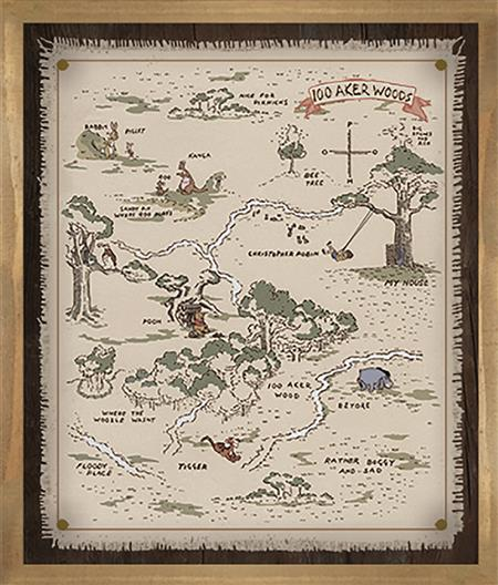 WINNIE THE POOH HUNDRED ACRE MAP WOOD FRAMED POSTER (C: 1-1-