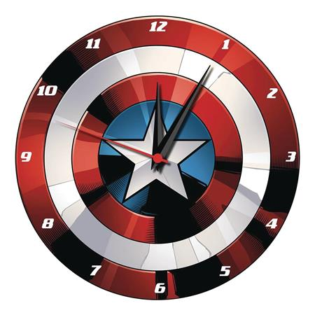 MARVEL CAPTAIN AMERICA SHIELD 13.5IN WOOD WALL CLOCK