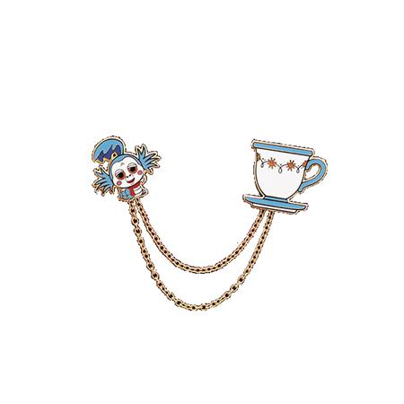 LITTLE SHOP OF PINS LABYRINTH WORM & TEACUP PIN SET W/CHAIN
